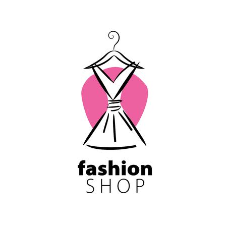 logo wektor odzież. Ilustracja sukienka na wieszaku Logo