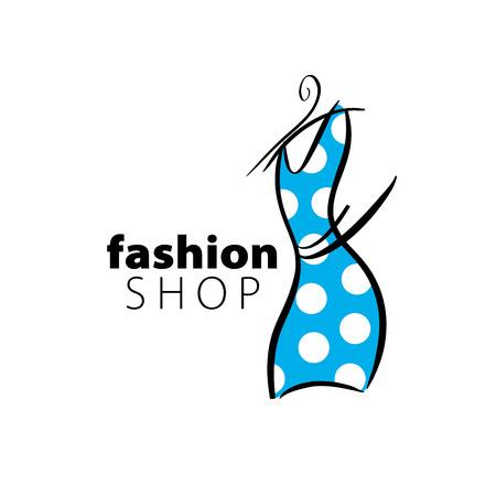 fashion shopping: vector logo clothing. Illustration dress on a hanger