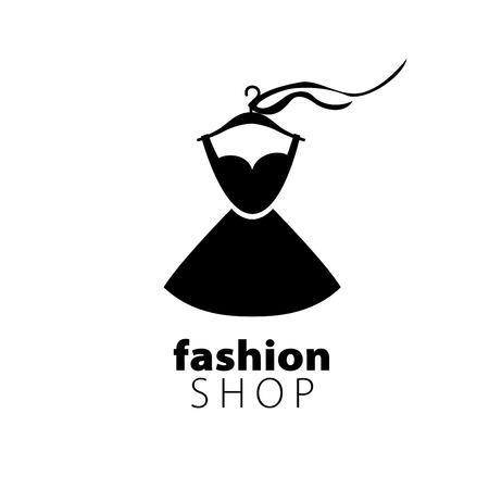 Vektor-Logo-Kleidung. Illustration Kleid auf einem Bügel