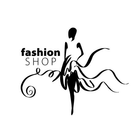 レディース ファッションのためのベクトルのロゴ。女の子のイラスト