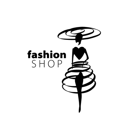 lady shopping: vector logo for womens fashion. Illustration of girl Illustration