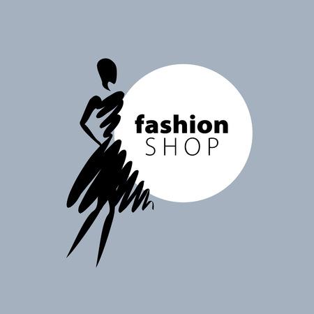 vector logo for womens fashion. Illustration of girl 矢量图像