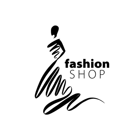 vector logo for womens fashion. Illustration of girl Ilustração
