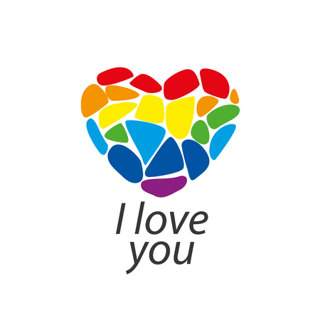 lesbian: Rainbow heart. Conceptual design for gay and lesbian support symbol. LGBT theme. Vector illustration.