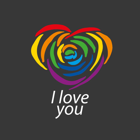 wedding parade: Rainbow heart. Conceptual design for gay and lesbian support symbol. LGBT theme. Vector illustration.