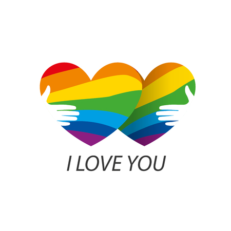 bisexual: Rainbow heart. Conceptual design for gay and lesbian support symbol. LGBT theme. Vector illustration.