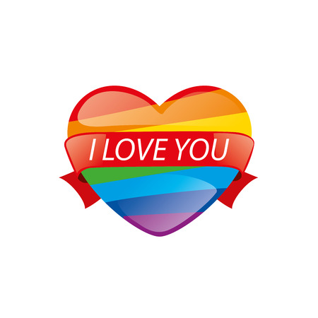 homosexuality: Rainbow heart. Conceptual design for gay and lesbian support symbol. LGBT theme. Vector illustration.