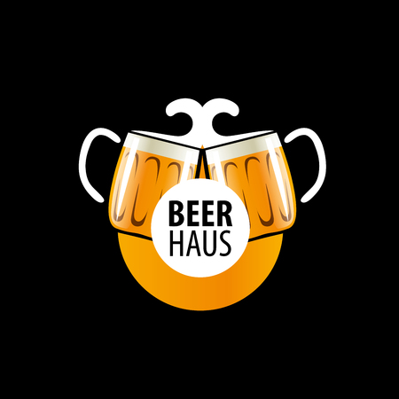 brewing house: vector template logo beer glass. Vector illustration