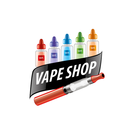 e cig: logo with liquids in vials to store the electronic cigarette. Vector illustration