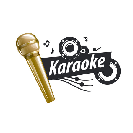 logo design template for karaoke. Vector illustration of icon Stock Illustratie