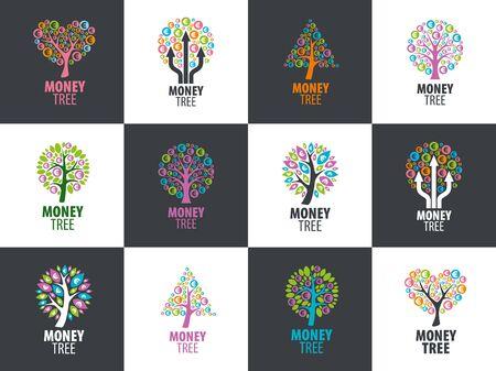 bank branch: logo design template money tree. Vector illustration