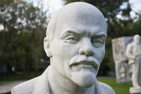 Bust of Lenin on a background of nature in the summer
