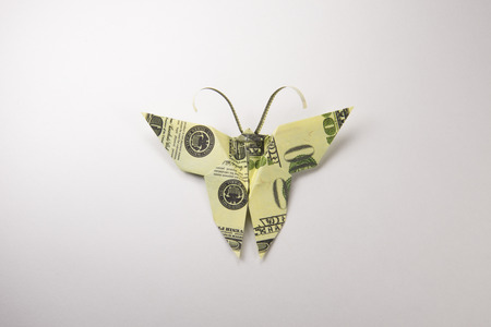 Origami Butterfly Made Out Of Dollar Bills Stock Photo Picture And