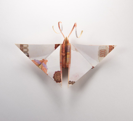 Origami butterfly made out of dollar bills
