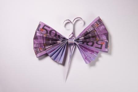 banconote euro: Origami farfalla fatta di euro fatture