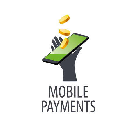 cellphone in hand: mobile payment design template. Vector illustration