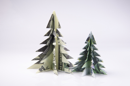 Christmas tree origami made of banknotes. Handmade