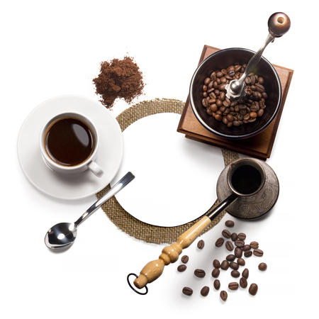 decaf: Top view of coffee, isolate on white Stock Photo