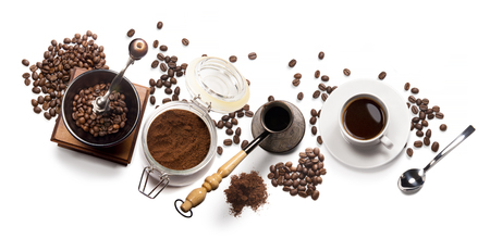 Top view of coffee, isolate on white Foto de archivo