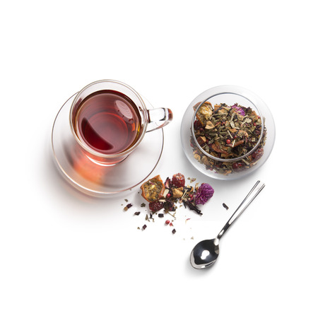tea accessories on a white background. View from above