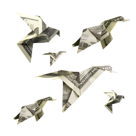 elegantly: Origami Bird from banknotes on a white background