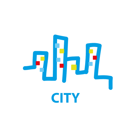 construction firm: template design of the city logo. Vector illustration of icon