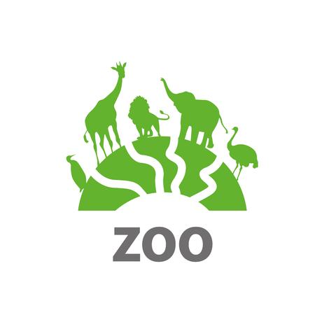 Template design logo zoo. Vector illustration of icon Logo
