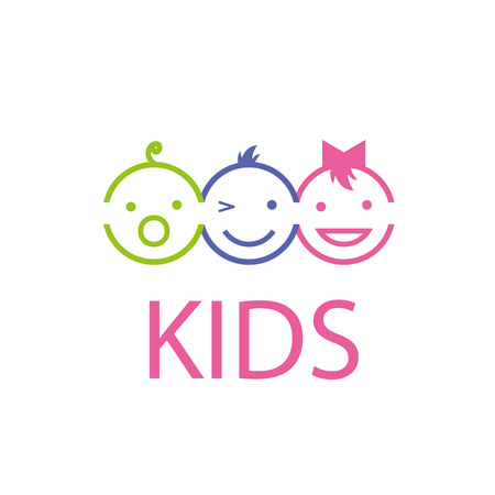 Template design logo kids. Vector illustration of icon