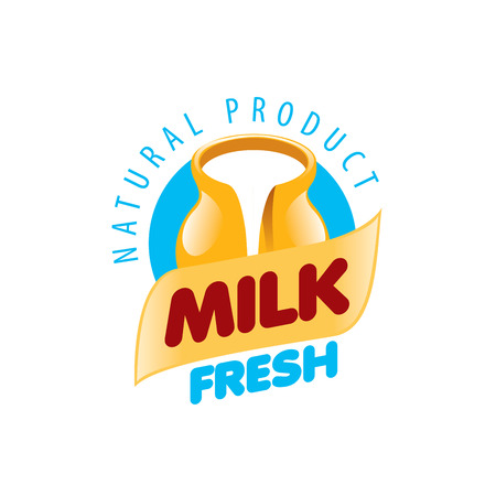vacas lecheras: Universal graphic vector logo for natural dairy products