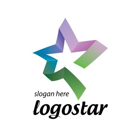 star logo of colored ribbons. Vector illustration icon