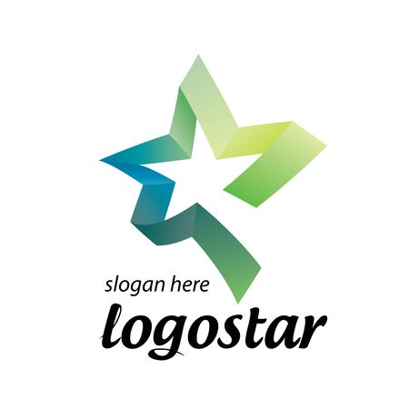 trademark: star logo of colored ribbons. Vector illustration icon