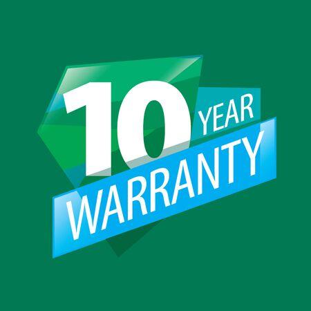10 years: logo 10 years warranty. Vector illustration of icon Illustration