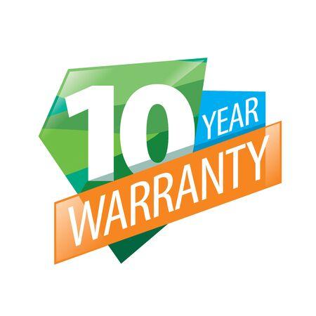 logo 10 years warranty. Vector illustration of icon Vettoriali