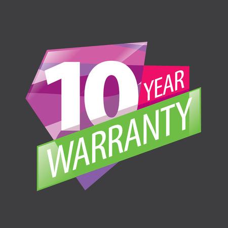 logo 10 years warranty. Vector illustration of icon Illustration