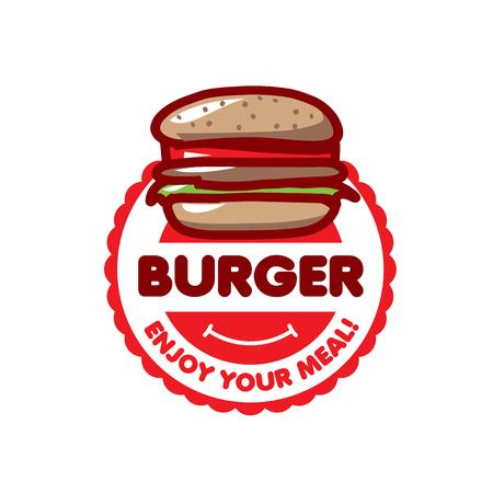 vector logo burger for menu restaurant or cafe  イラスト・ベクター素材
