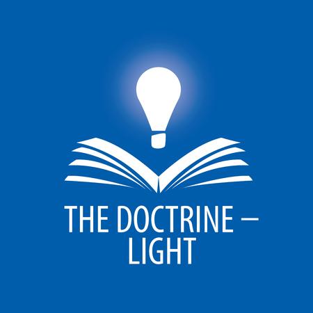 logo lamp illuminates book. Vector illustration of icon Logo