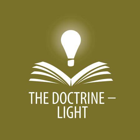logo lamp illuminates book. Vector illustration of icon Illustration