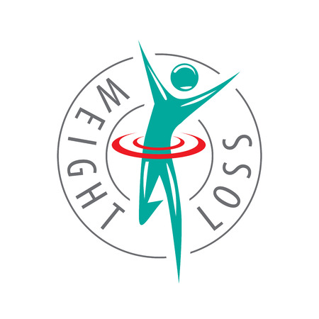 slim woman: logo running man for weight loss. Vector illustration of icon