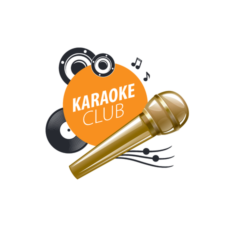 speakers: template design logo karaoke. Vector illustration of icon