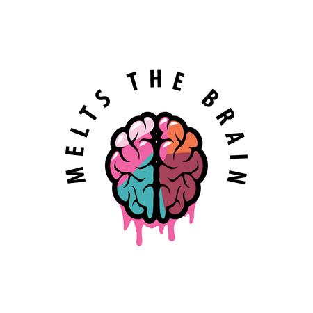 melt: template design logo brain. Vector illustration of icon Illustration