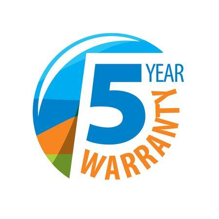 1 year warranty: logo 5 years warranty. Vector illustration of icon