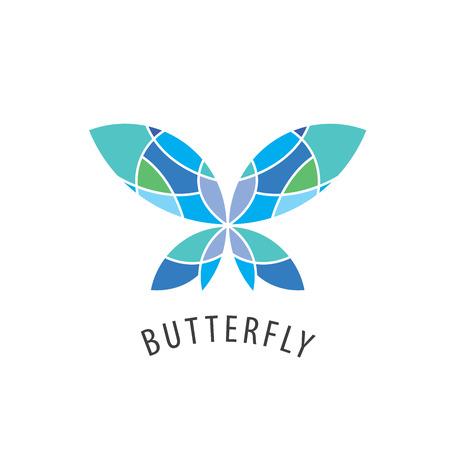 logotipo de la mariposa del vector esquema con inserciones de color