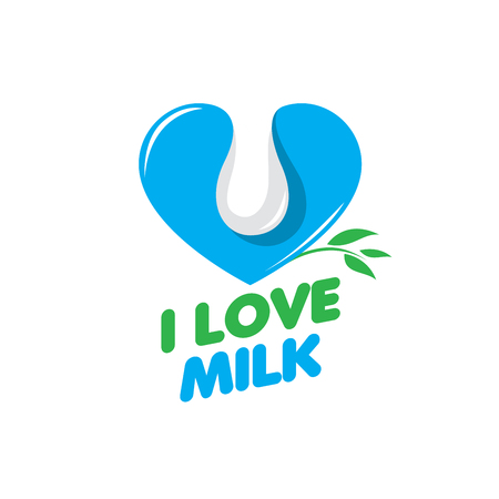 vacas lecheras: template design logo milk. Vector illustration of icon