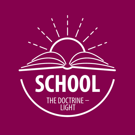 teach: logo book and sun with rays. Vector illustration of icon Illustration