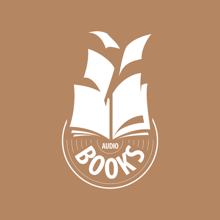 audio book: logo audio books fly away sheets. Vector illustration of icon Illustration