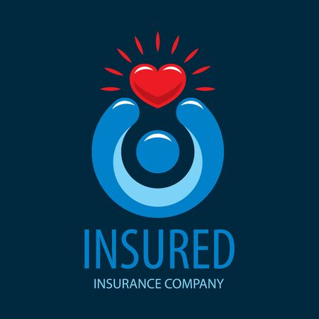 insured: logo man holding a heart. Vector illustration of icon
