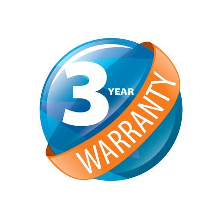 logo 3 years warranty. Vector illustration of icon Illustration