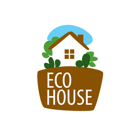 template design logo eco house. Vector illustration of icon