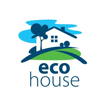 country house style: template design logo eco house. Vector illustration of icon