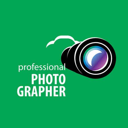 photography equipment: logo camera the photographer. Vector illustration of icon